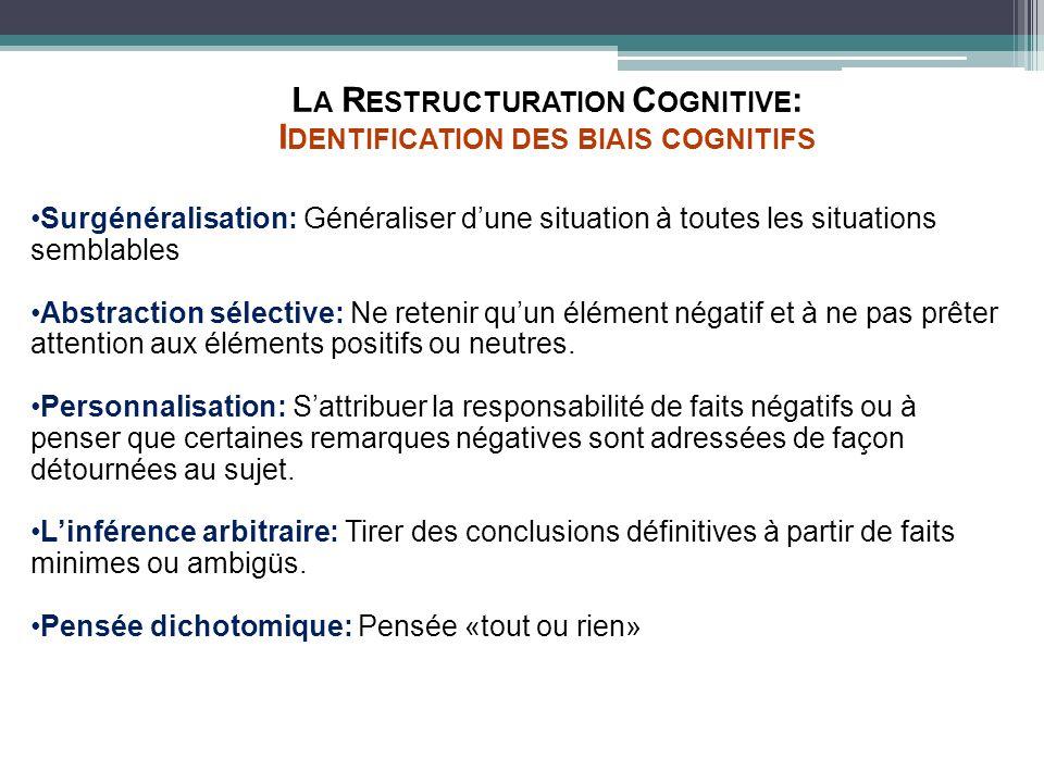 L A R ESTRUCTURATION C OGNITIVE : I DENTIFICATION DES BIAIS COGNITIFS Surgénéralisation: Généraliser dune situation à toutes les situations semblables