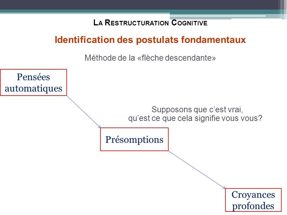 L A R ESTRUCTURATION C OGNITIVE Identification des postulats fondamentaux Méthode de la «flèche descendante» Supposons que cest vrai, quest ce que cel