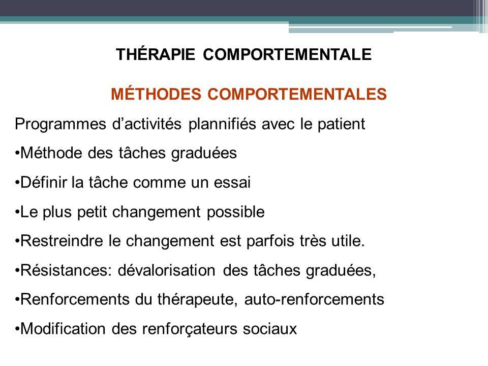 THÉRAPIE COMPORTEMENTALE MÉTHODES COMPORTEMENTALES Programmes dactivités plannifiés avec le patient Méthode des tâches graduées Définir la tâche comme