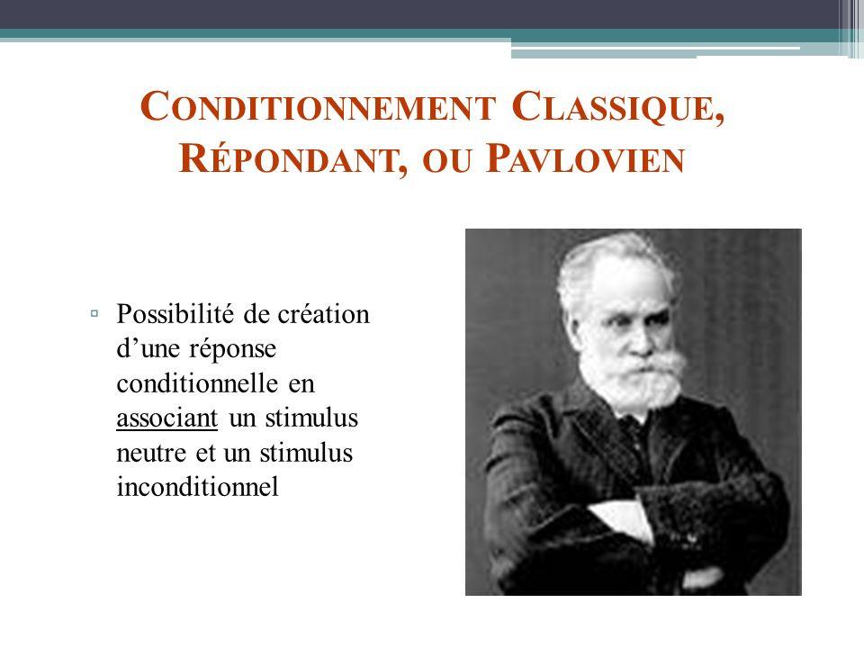 C ONDITIONNEMENT C LASSIQUE, R ÉPONDANT, OU P AVLOVIEN Possibilité de création dune réponse conditionnelle en associant un stimulus neutre et un stimu