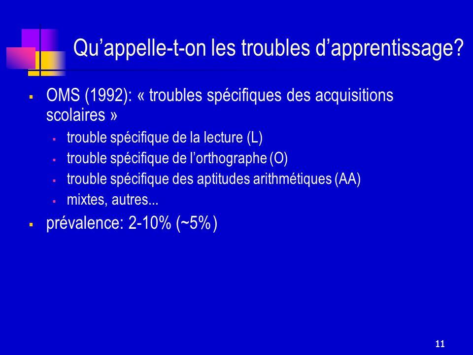 11 Quappelle-t-on les troubles dapprentissage? OMS (1992): « troubles spécifiques des acquisitions scolaires » trouble spécifique de la lecture (L) tr