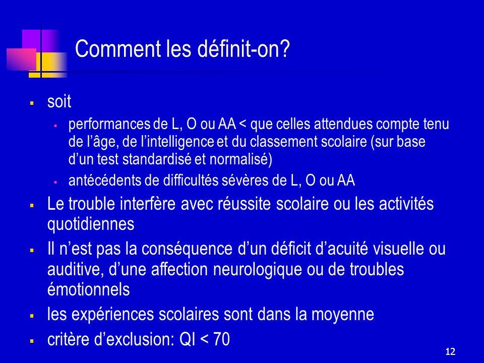 12 Comment les définit-on? soit performances de L, O ou AA < que celles attendues compte tenu de lâge, de lintelligence et du classement scolaire (sur