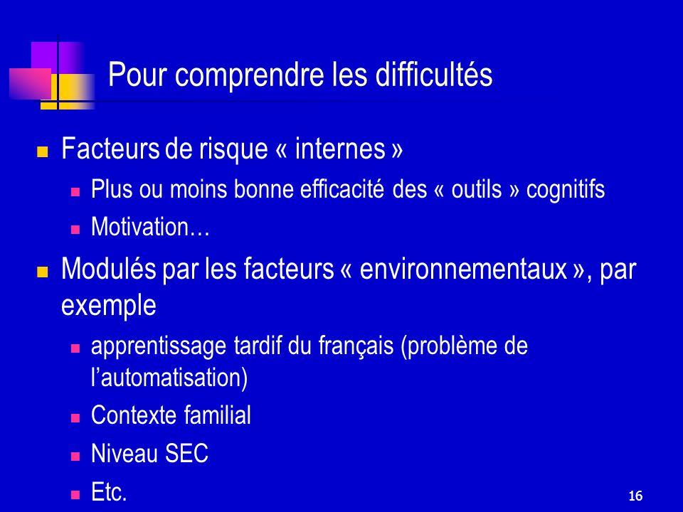 16 Pour comprendre les difficultés Facteurs de risque « internes » Plus ou moins bonne efficacité des « outils » cognitifs Motivation… Modulés par les