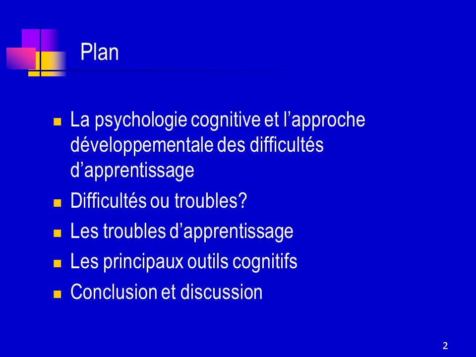 2 Plan La psychologie cognitive et lapproche développementale des difficultés dapprentissage Difficultés ou troubles? Les troubles dapprentissage Les