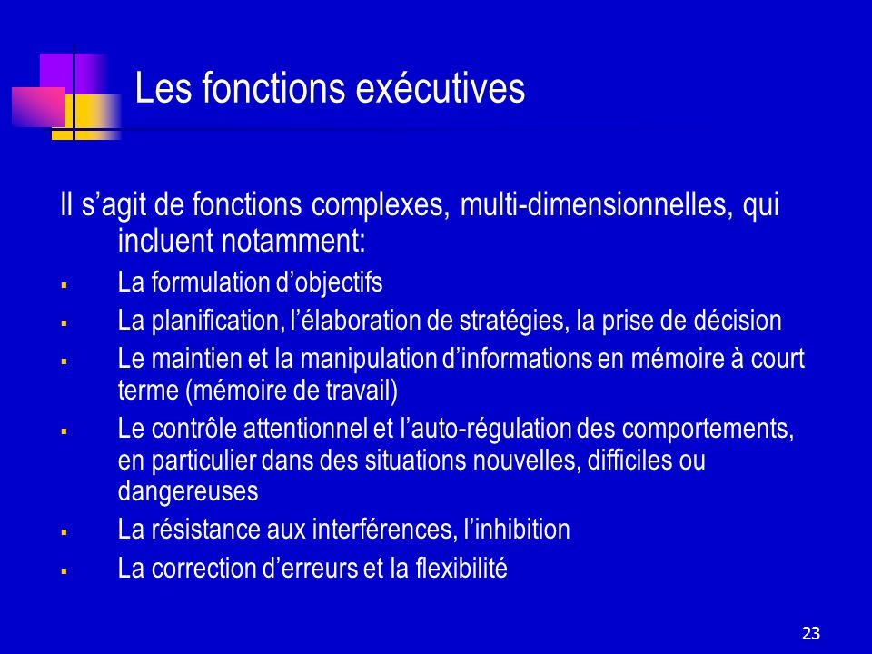 23 Les fonctions exécutives Il sagit de fonctions complexes, multi-dimensionnelles, qui incluent notamment: La formulation dobjectifs La planification