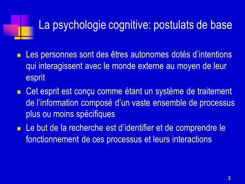 3 La psychologie cognitive: postulats de base Les personnes sont des êtres autonomes dotés dintentions qui interagissent avec le monde externe au moye