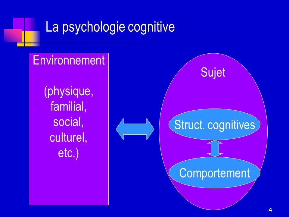 4 La psychologie cognitive Environnement (physique, familial, social, culturel, etc.) Sujet Struct. cognitives Comportement