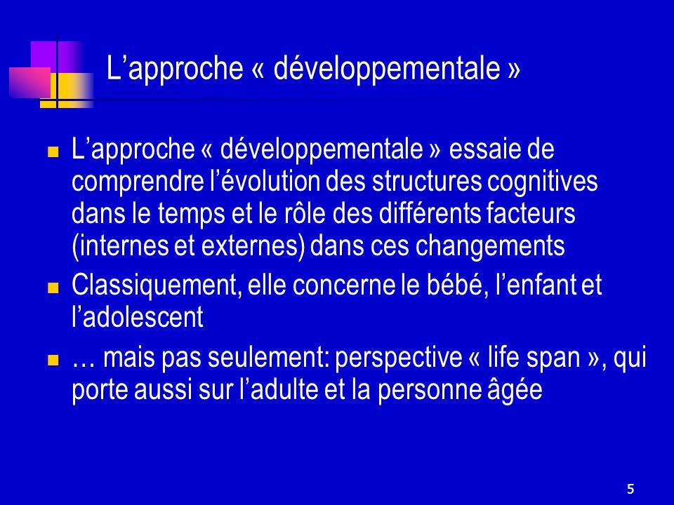 5 Lapproche « développementale » Lapproche « développementale » essaie de comprendre lévolution des structures cognitives dans le temps et le rôle des
