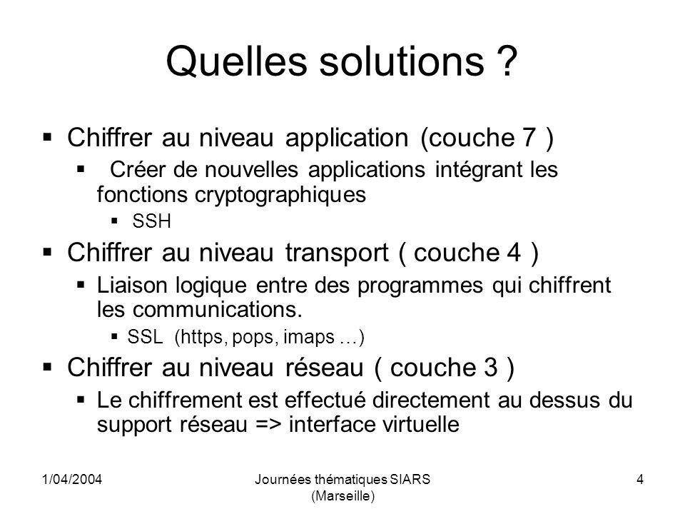 1/04/2004Journées thématiques SIARS (Marseille) 25 OPENVPN Lancement du VPN openvpn --daemon --config br_conf.conf --log vpn.log openvpn sinitialise en utilisant le fichier de configuration br_conf.conf et se met en attente dune connexion cliente, les informations sont collectées dans le fichier vpn.log Pour dautres options de lancement: http://openvpn.net/man.html