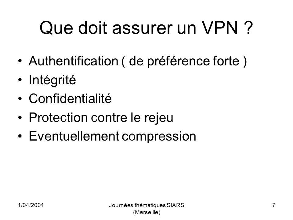 1/04/2004Journées thématiques SIARS (Marseille) 28 Installation du client Windows Fichier de config du client Windows # # OpenVPN bridge config, windows client side # OK 11-03-05 # remote 194.199.99.6 port 5000 dev tap client tls-client auth-user-pass ca./certs/CNRS-total.crt cert./certs/lemien-standardcrt.pem key./certs/lemien-standard.pem up openvpn.bat ping 10 comp-lzo verb 4