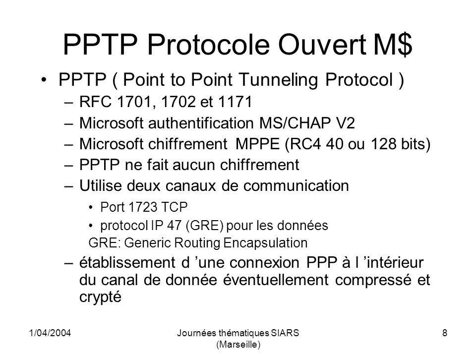 1/04/2004Journées thématiques SIARS (Marseille) 9 PPTP Protocole Ouvert M$ A nutiliser que si cest la seule solution Avantages: - Facile à installer (Windows depuis Win95 et Linux) Inconvénients majeurs: - Faiblesse de lauthentification (attaque du mot de passe), - Protocole GRE/IP pas toujours traité sur les routeurs de site ce qui nécessite douvrir tout IP vers le serveur VPN….