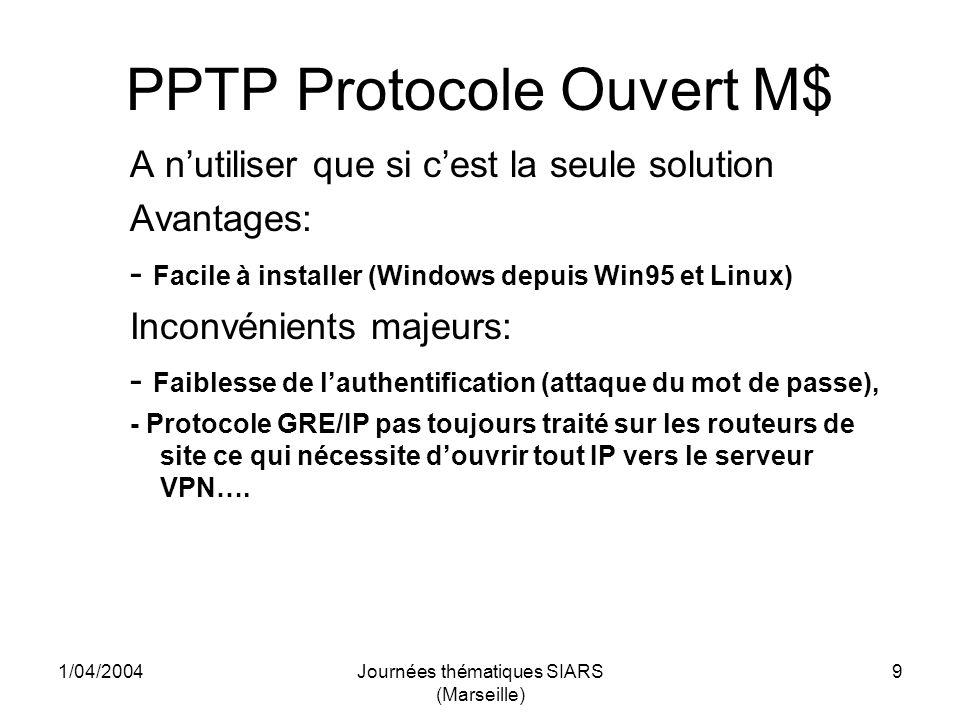 1/04/2004Journées thématiques SIARS (Marseille) 20 OpenVPN Compilation du module PAM Ajouter, s il est absent, le module libpam-dev (devlopment files for PAM) - A partir du répertoire dinstallation dopenvpn, aller dans le sous répertoire plugin/auth-pam (attention cette possibilité nexiste que dans la dernière version dOpenVPN) Lancer make, on obtient le module openvpn-auth-pam.so Ce module va être utilisé pour identifier le client dans la base des comptes Unix du serveur.