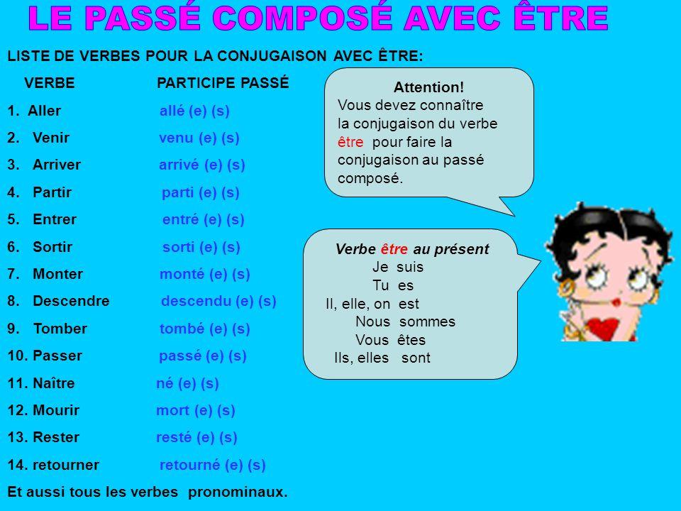 LISTE DE VERBES POUR LA CONJUGAISON AVEC ÊTRE: VERBE PARTICIPE PASSÉ 1. Aller allé (e) (s) 2.Venir venu (e) (s) 3.Arriver arrivé (e) (s) 4.Partir part