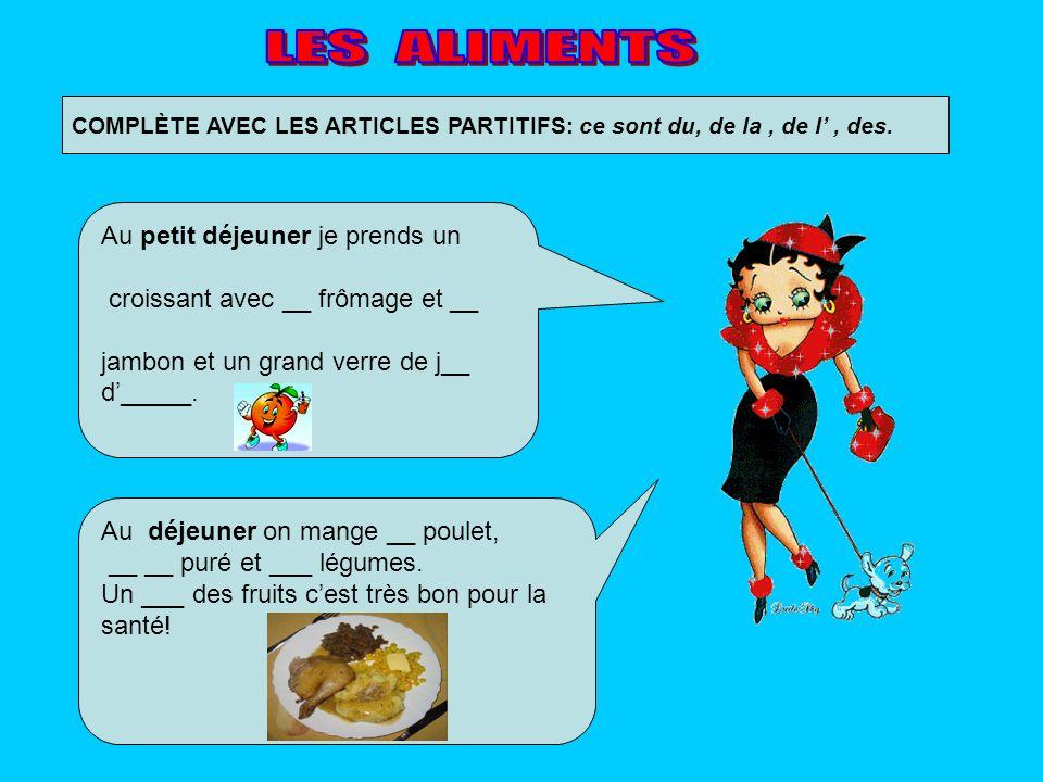 COMPLÈTE AVEC LES ARTICLES PARTITIFS: ce sont du, de la, de l, des. Au déjeuner on mange __ poulet, __ __ puré et ___ légumes. Un ___ des fruits cest