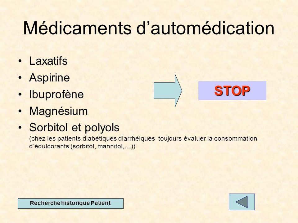 Médicaments dautomédication Laxatifs Aspirine Ibuprofène Magnésium Sorbitol et polyols (chez les patients diabétiques diarrhéiques toujours évaluer la consommation dédulcorants (sorbitol, mannitol,…)) STOP Recherche historique Patient
