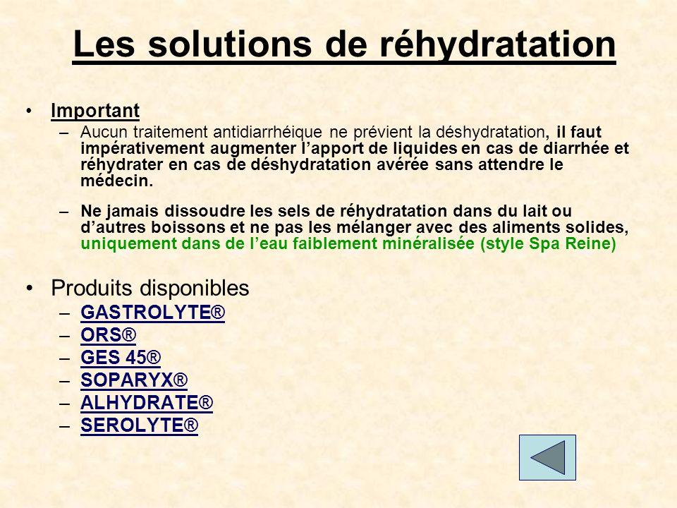 Les solutions de réhydratation Important –Aucun traitement antidiarrhéique ne prévient la déshydratation, il faut impérativement augmenter lapport de liquides en cas de diarrhée et réhydrater en cas de déshydratation avérée sans attendre le médecin.