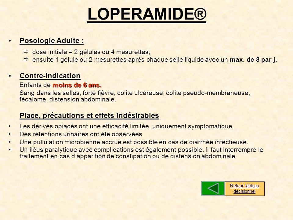 LOPERAMIDE® Posologie Adulte : dose initiale = 2 gélules ou 4 mesurettes, ensuite 1 gélule ou 2 mesurettes après chaque selle liquide avec un max.