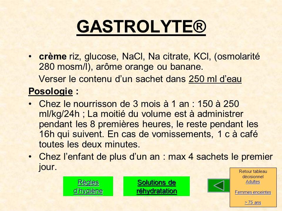 GASTROLYTE® crème riz, glucose, NaCl, Na citrate, KCl, (osmolarité 280 mosm/l), arôme orange ou banane.