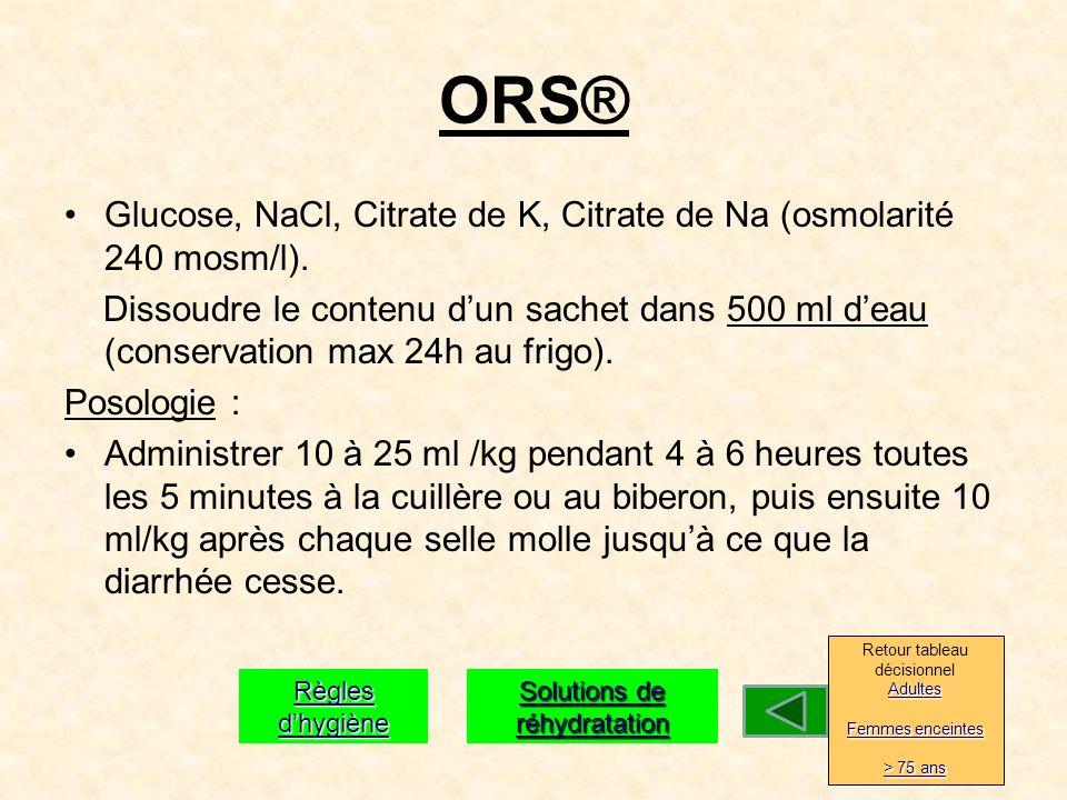 ORS® Glucose, NaCl, Citrate de K, Citrate de Na (osmolarité 240 mosm/l).