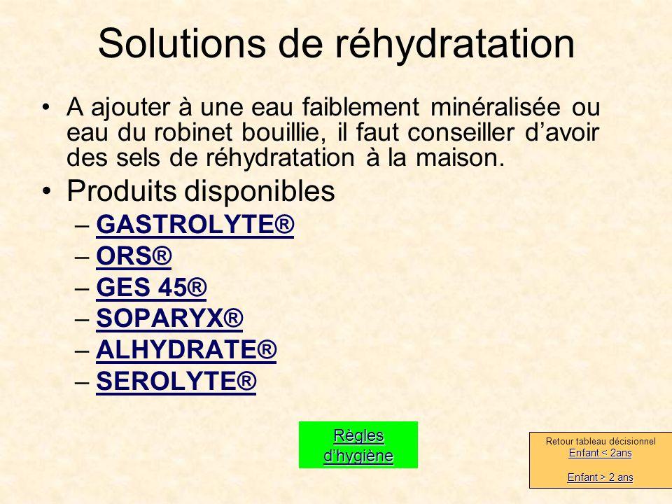 Solutions de réhydratation A ajouter à une eau faiblement minéralisée ou eau du robinet bouillie, il faut conseiller davoir des sels de réhydratation à la maison.