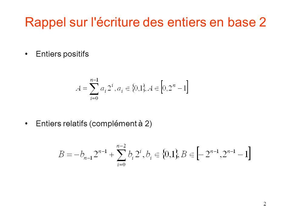 2 Rappel sur l'écriture des entiers en base 2 Entiers positifs Entiers relatifs (complément à 2)