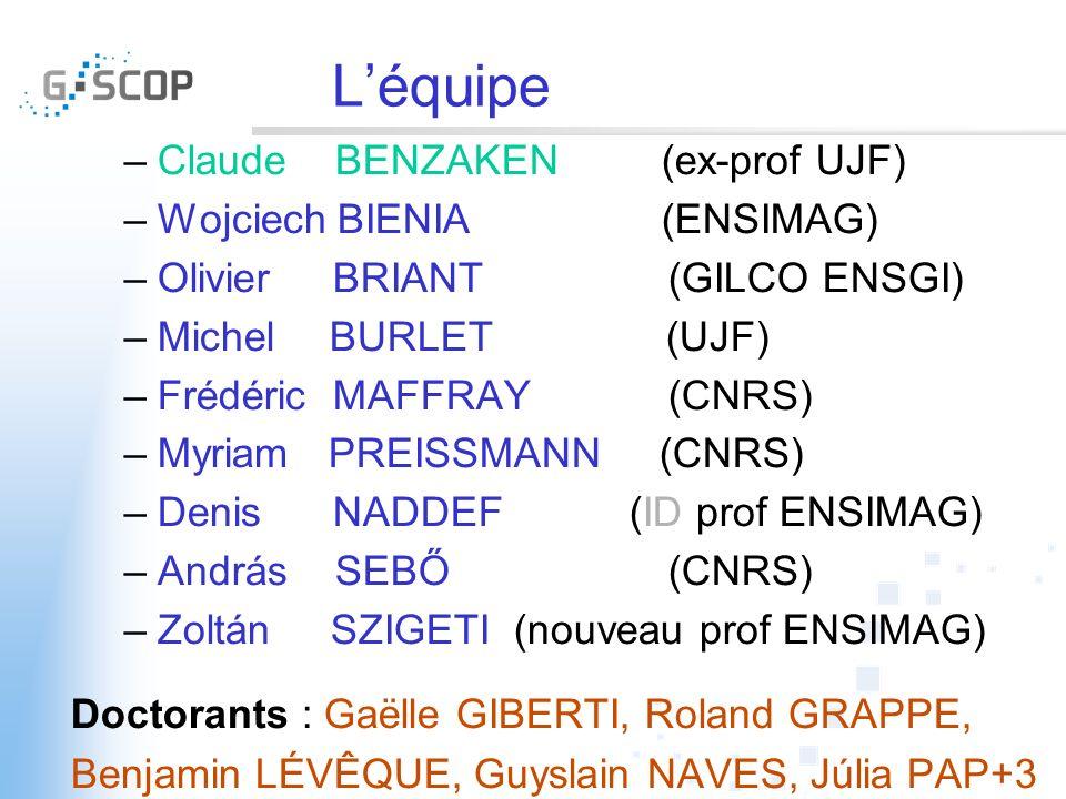 Léquipe –Claude BENZAKEN (ex-prof UJF) –Wojciech BIENIA (ENSIMAG) –Olivier BRIANT (GILCO ENSGI) –Michel BURLET (UJF) –Frédéric MAFFRAY (CNRS) –Myriam