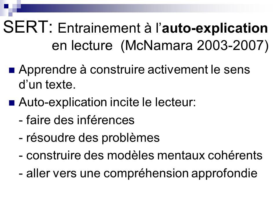 SERT: Entrainement à lauto-explication en lecture (McNamara 2003-2007) Apprendre à construire activement le sens dun texte.
