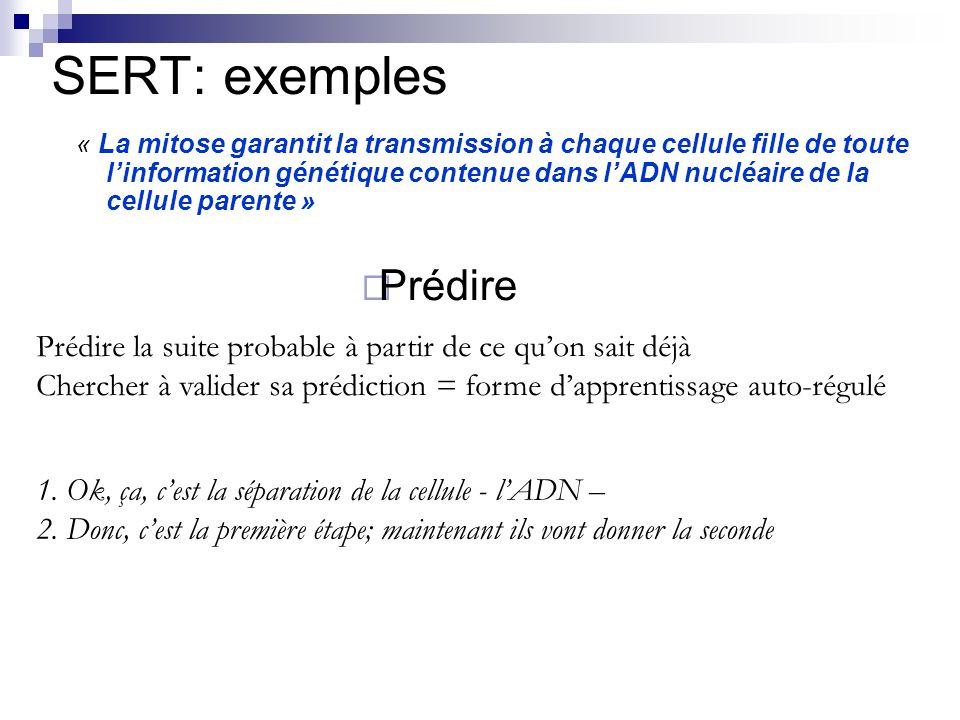 Prédire SERT: exemples « La mitose garantit la transmission à chaque cellule fille de toute linformation génétique contenue dans lADN nucléaire de la cellule parente » Prédire la suite probable à partir de ce quon sait déjà Chercher à valider sa prédiction = forme dapprentissage auto-régulé 1.