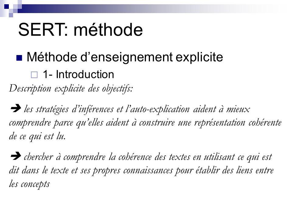 Méthode denseignement explicite 1- Introduction SERT: méthode Description explicite des objectifs: les stratégies dinférences et lauto-explication aident à mieux comprendre parce quelles aident à construire une représentation cohérente de ce qui est lu.