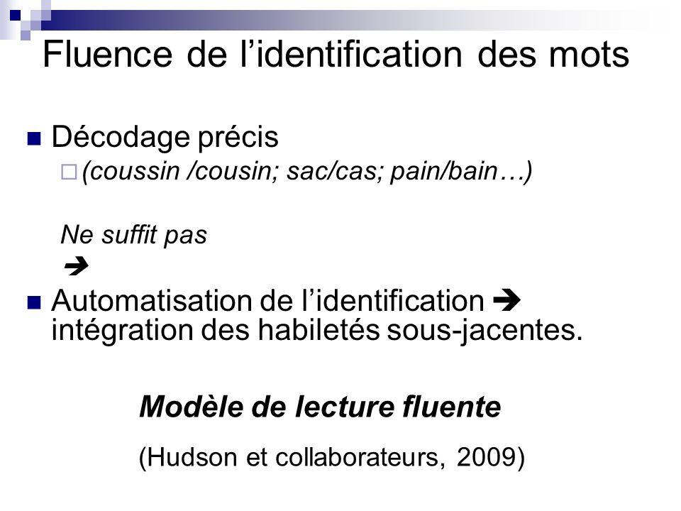 Fluence de lidentification des mots Décodage précis (coussin /cousin; sac/cas; pain/bain…) Ne suffit pas Automatisation de lidentification intégration des habiletés sous-jacentes.