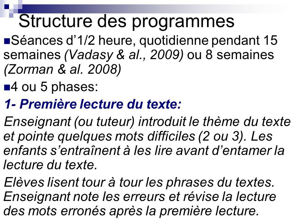 Structure des programmes Séances d1/2 heure, quotidienne pendant 15 semaines (Vadasy & al., 2009) ou 8 semaines (Zorman & al.