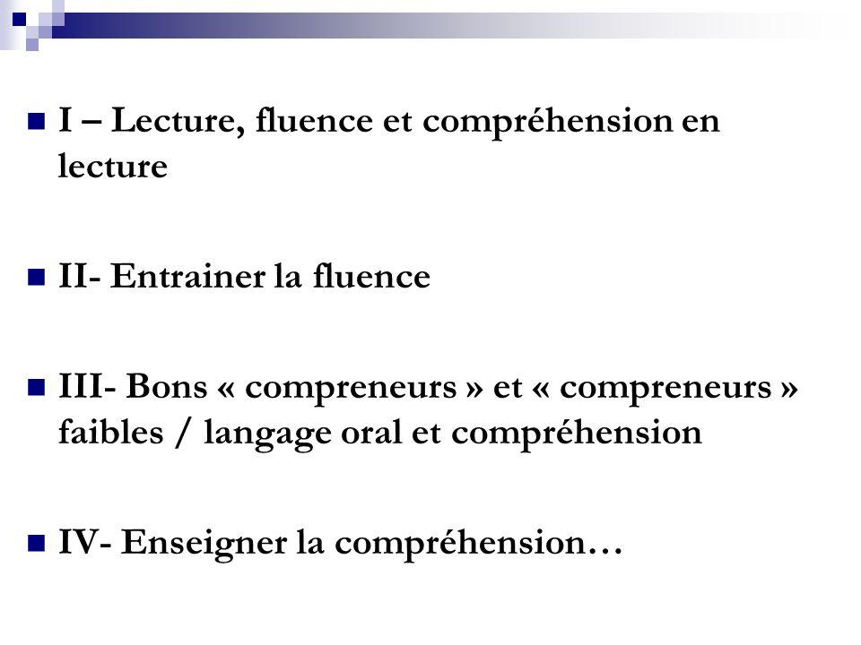 I – Lecture, fluence et compréhension en lecture II- Entrainer la fluence III- Bons « compreneurs » et « compreneurs » faibles / langage oral et compréhension IV- Enseigner la compréhension…