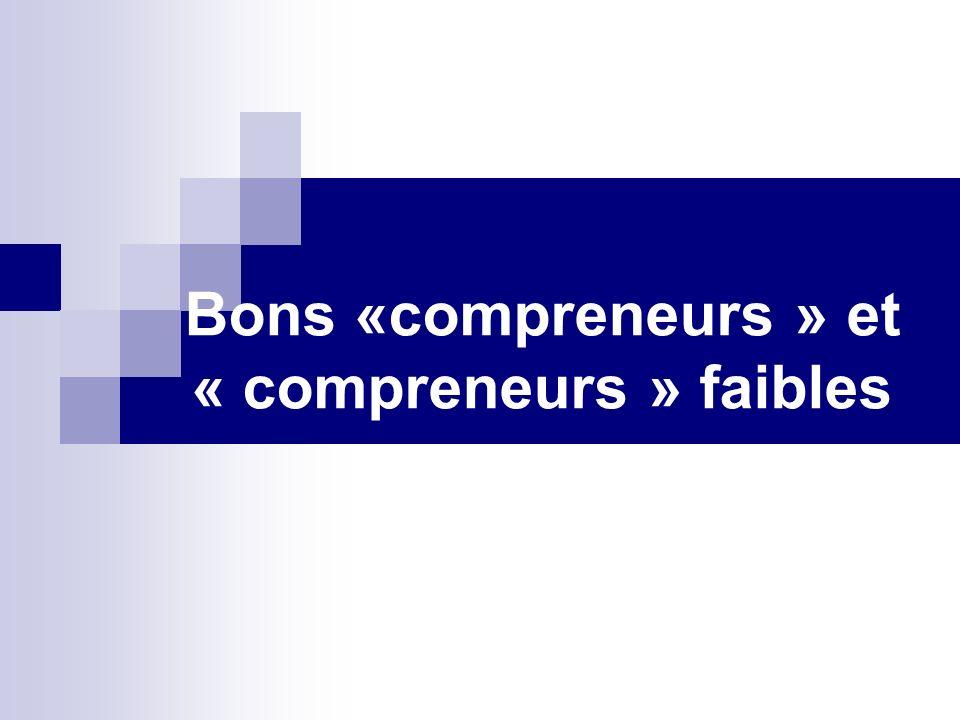 Bons «compreneurs » et « compreneurs » faibles