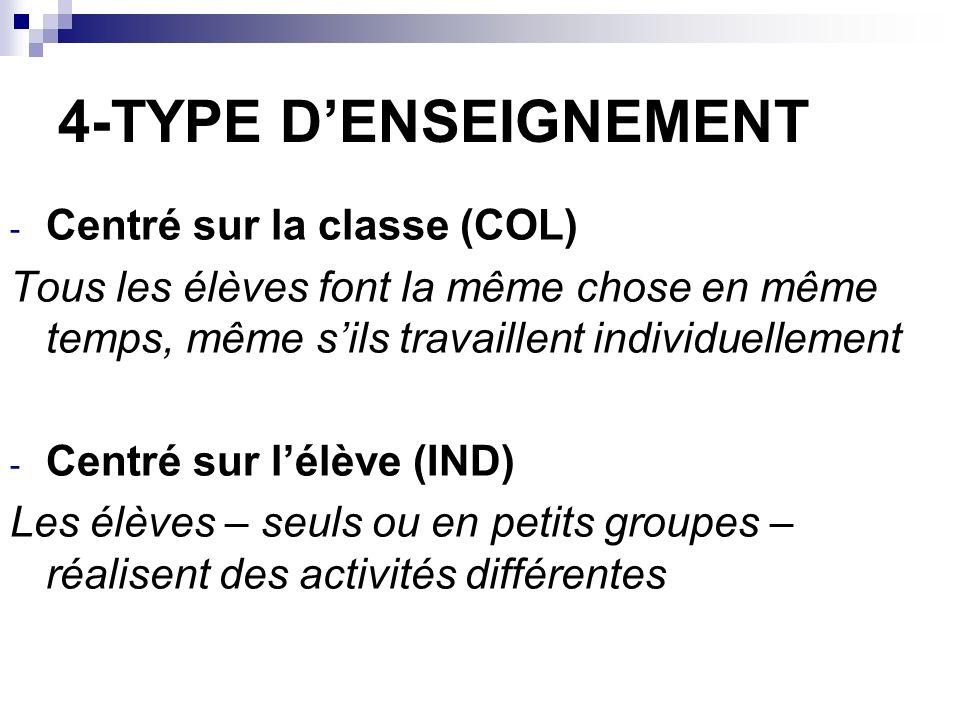 4-TYPE DENSEIGNEMENT - Centré sur la classe (COL) Tous les élèves font la même chose en même temps, même sils travaillent individuellement - Centré sur lélève (IND) Les élèves – seuls ou en petits groupes – réalisent des activités différentes