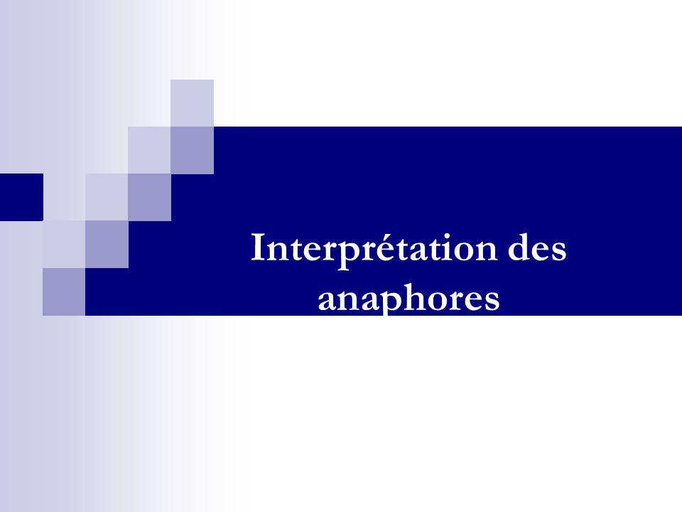 Interprétation des anaphores