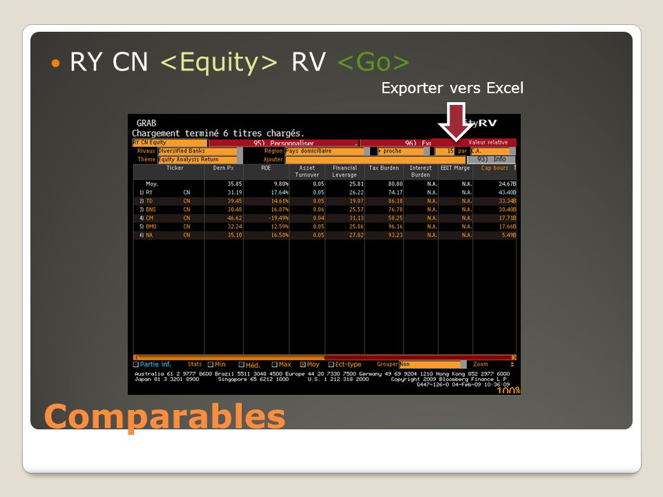 Comparables RY CN RV Exporter vers Excel
