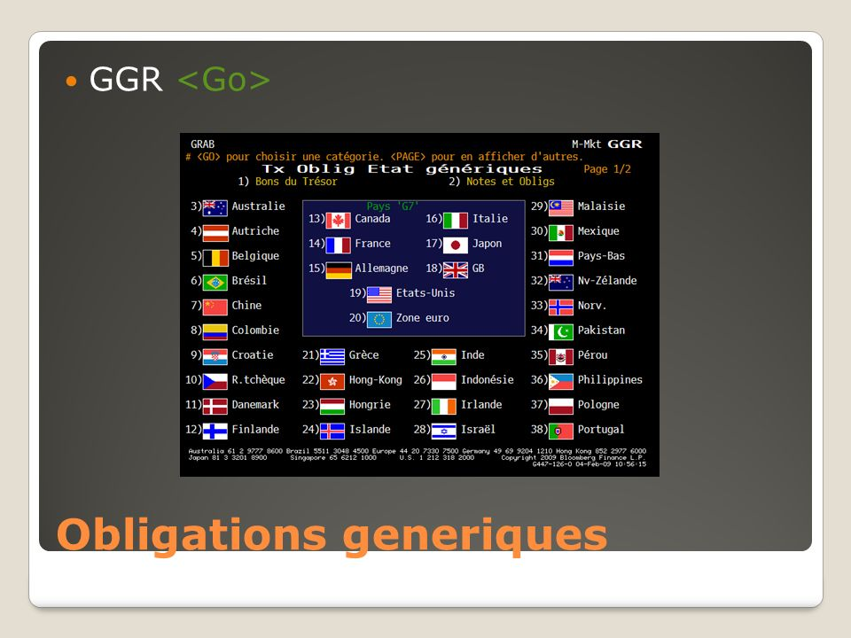 Obligations generiques GGR