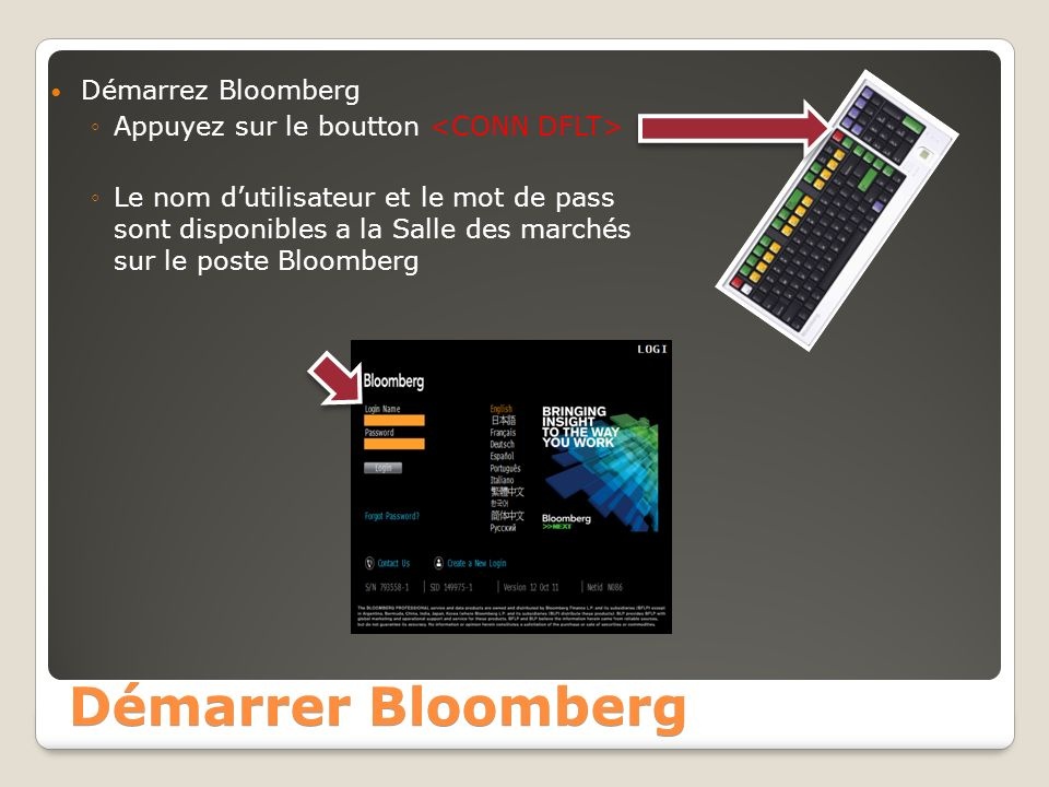Démarrer Bloomberg Démarrez Bloomberg Appuyez sur le boutton Le nom dutilisateur et le mot de pass sont disponibles a la Salle des marchés sur le poste Bloomberg