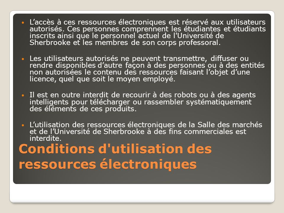 Laccès à ces ressources électroniques est réservé aux utilisateurs autorisés.