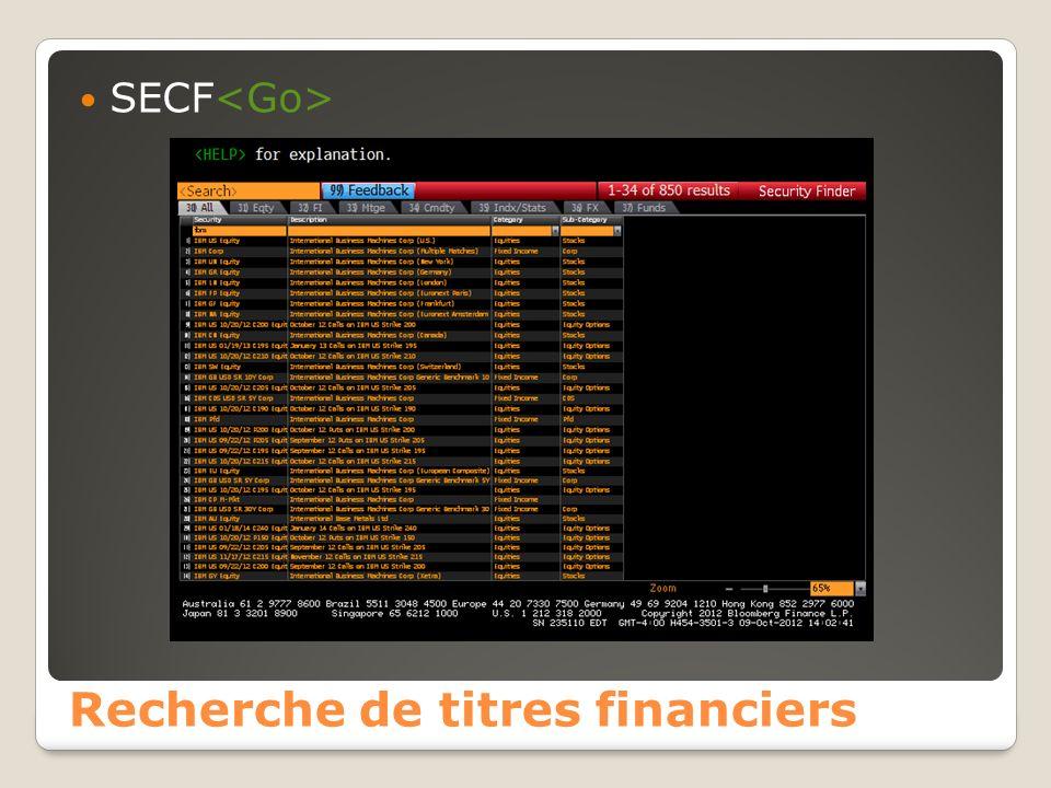 Recherche de titres financiers SECF