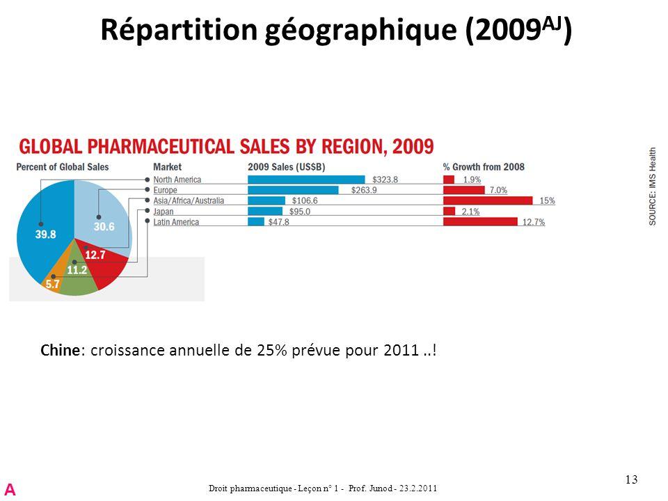 Répartition géographique (2009 AJ ) Droit pharmaceutique - Leçon n° 1 - Prof.
