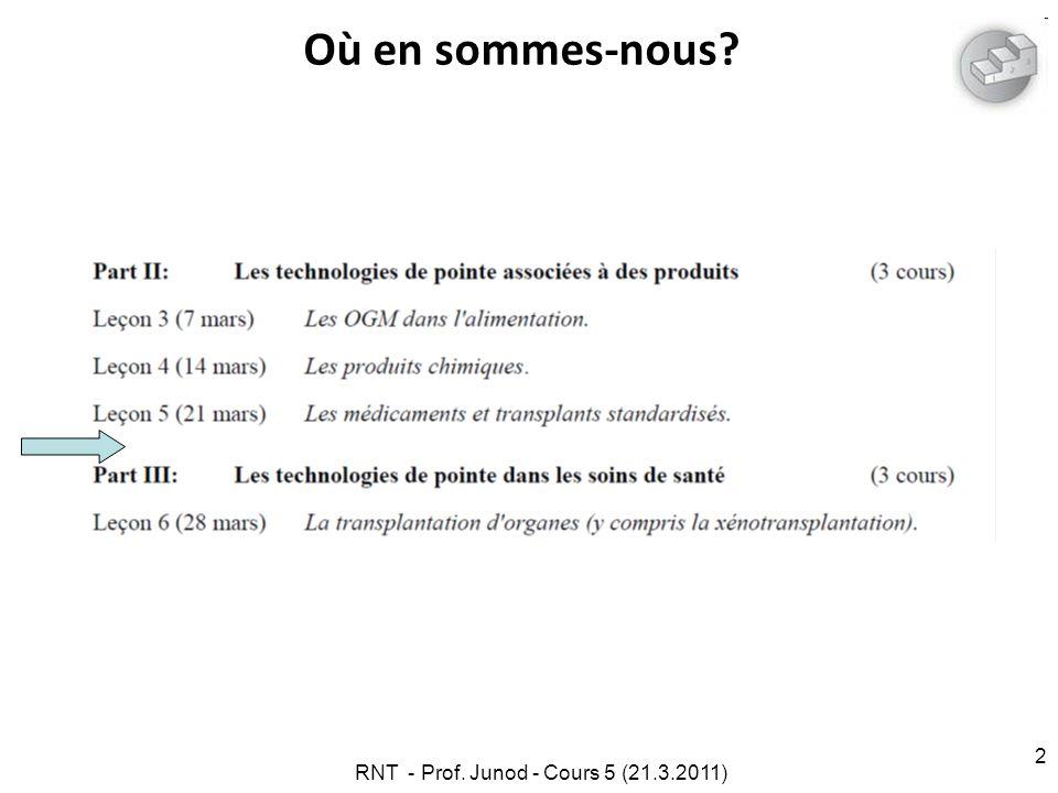 RNT - Prof. Junod - Cours 5 (21.3.2011) 2 Où en sommes-nous