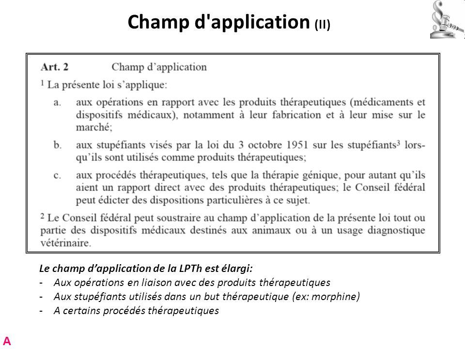 Champ d application (II) Le champ dapplication de la LPTh est élargi: -Aux opérations en liaison avec des produits thérapeutiques -Aux stupéfiants utilisés dans un but thérapeutique (ex: morphine) -A certains procédés thérapeutiques A