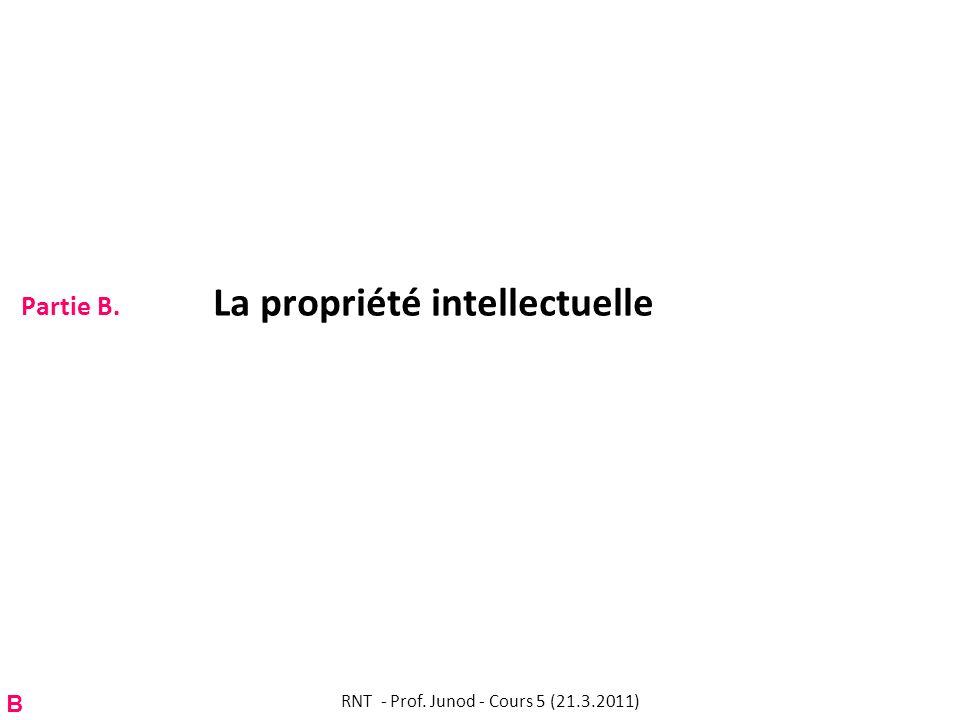 Partie B. La propriété intellectuelle RNT - Prof. Junod - Cours 5 (21.3.2011) B