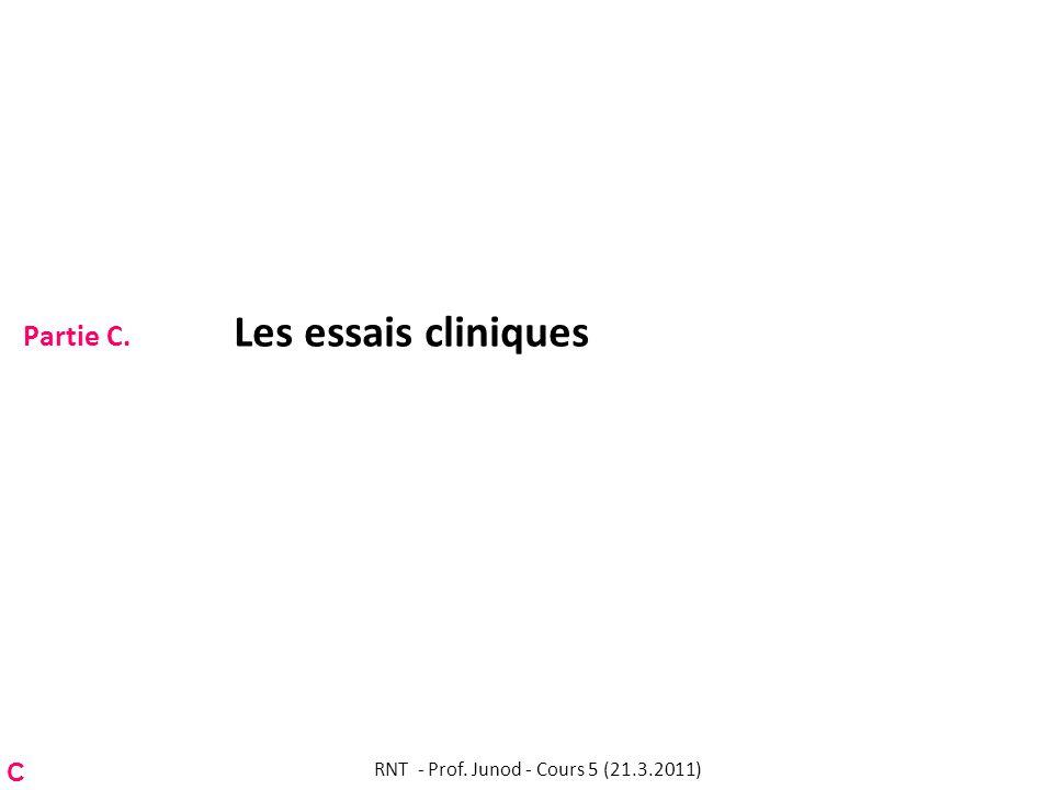 Partie C. Les essais cliniques RNT - Prof. Junod - Cours 5 (21.3.2011) C