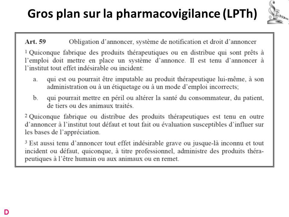 Gros plan sur la pharmacovigilance (LPTh) D