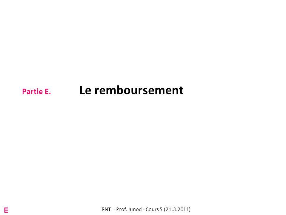 Partie E. Le remboursement RNT - Prof. Junod - Cours 5 (21.3.2011) E