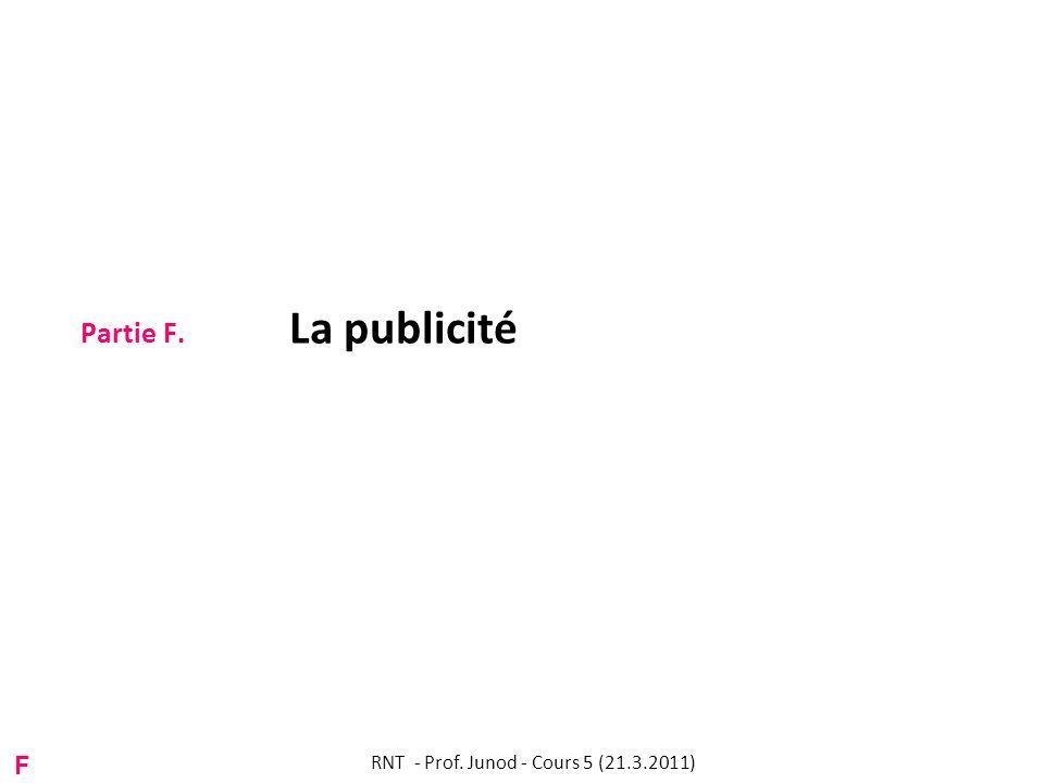 Partie F. La publicité RNT - Prof. Junod - Cours 5 (21.3.2011) F