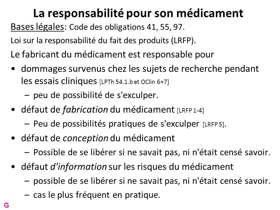 La responsabilité pour son médicament Bases légales: Code des obligations 41, 55, 97.