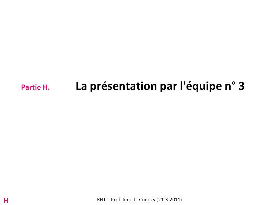 Partie H. La présentation par l équipe n° 3 RNT - Prof. Junod - Cours 5 (21.3.2011) H